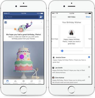 facebook 誕生日を祝う友達の投稿をまとめる バースデー動画