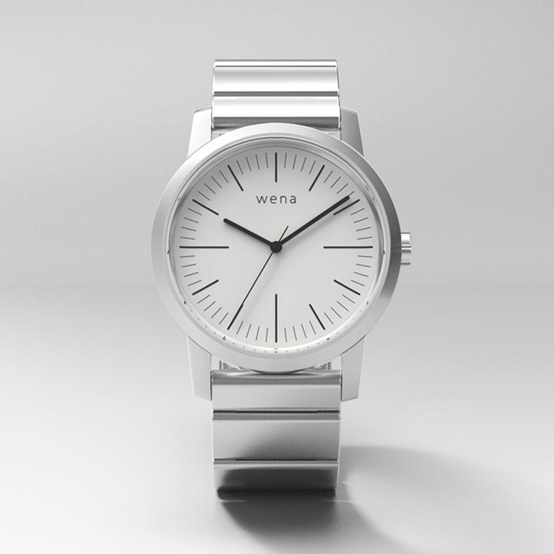 cf666563ac ソニーのハイブリッドスマートウォッチ「wena wrist」の「Three Hands モデル」。